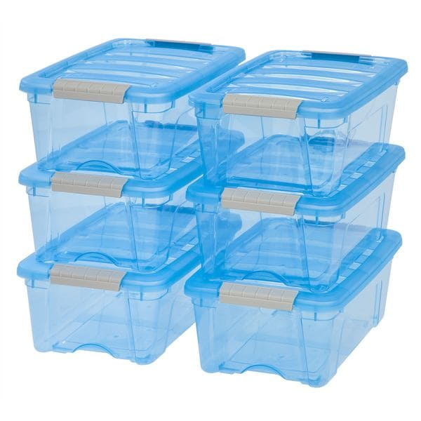 Iris Stack and Pull Transparent Blue Plastic 12-quart Storage Boxes (Pack of 6)