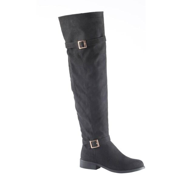 Hadari Women's Buckled Low Heel Black Winter Flat Boot Shoes