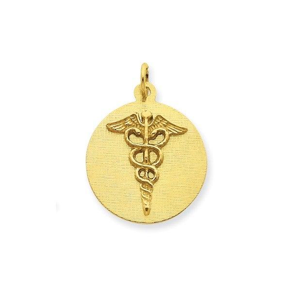 14-karat Yellow Gold Caduceus Disc Charm