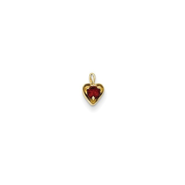 14k Yellow Gold January Birthstone Heart Charm