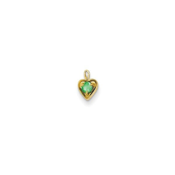 14k Yellow Gold May Birthstone Heart Charm
