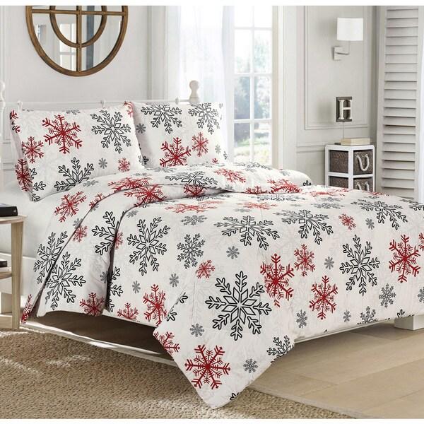 Brielle Snowflake Flannel Comforter