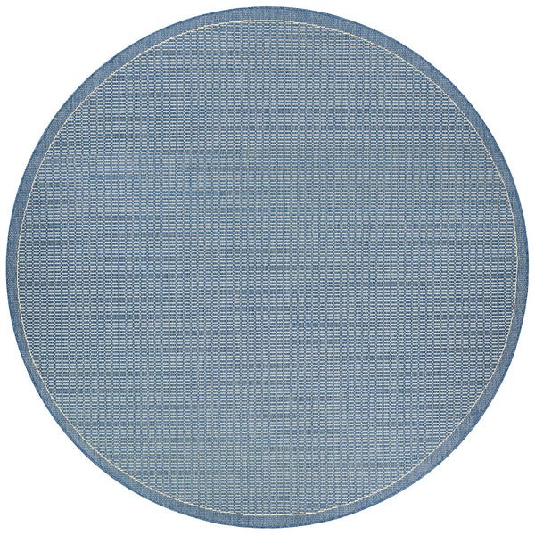 Couristan Recife Champagne-Blue Polypropylene Power-loomed Saddle Stitch Rug (7'6 Round)