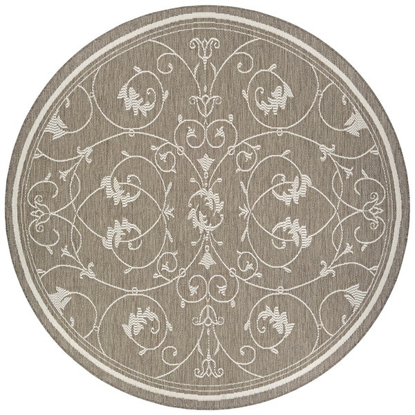 Couristan Inc. Recife Veranda/Champagne/Taupe Polypropylene Round Rug (8'6 Diameter)