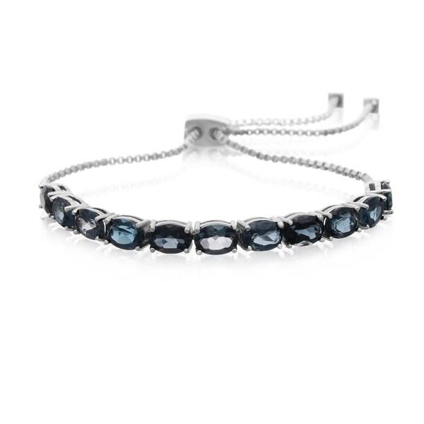 7 Carat London Blue Topaz Adjustable Slide Tennis Bracelet