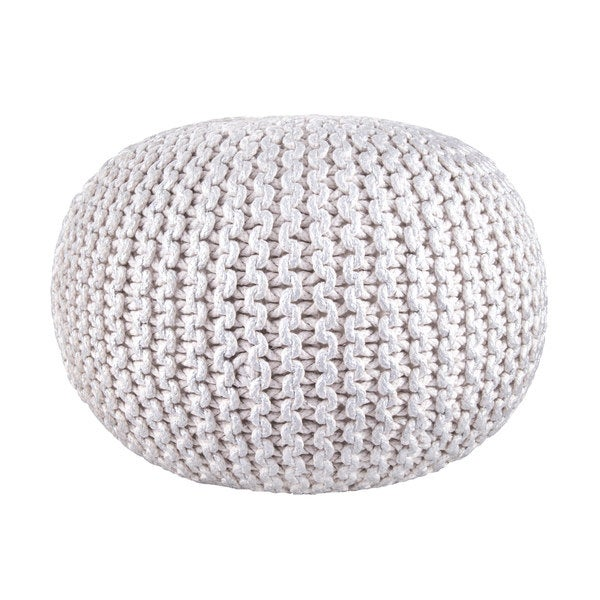 nuLOOM Hand Knitted Cotton Twisted Casual Living Disco Cables Pouf 21811760