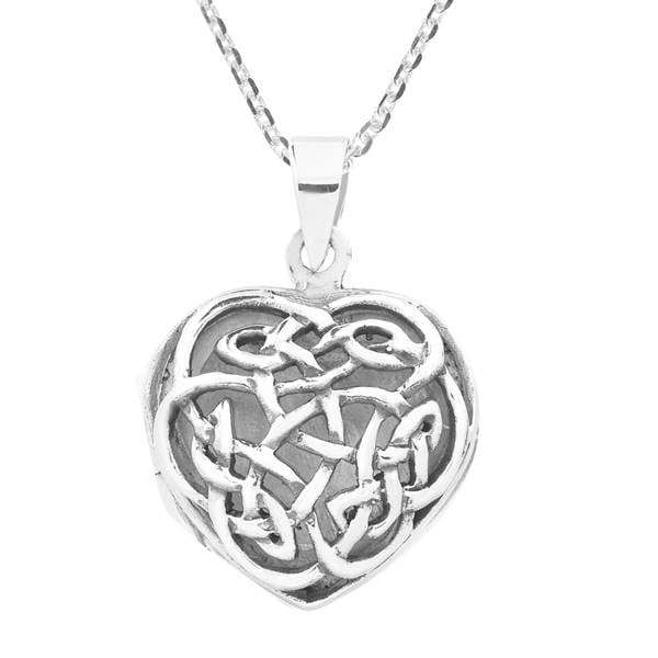Handmade Endless Celtic Knot Heart Locket Sterling Silver Necklace (Thailand) 21812517
