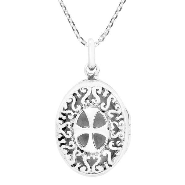 Handmade Iron Cross Filigree Oval Locket Sterling Silver Necklace (Thailand) 21812523