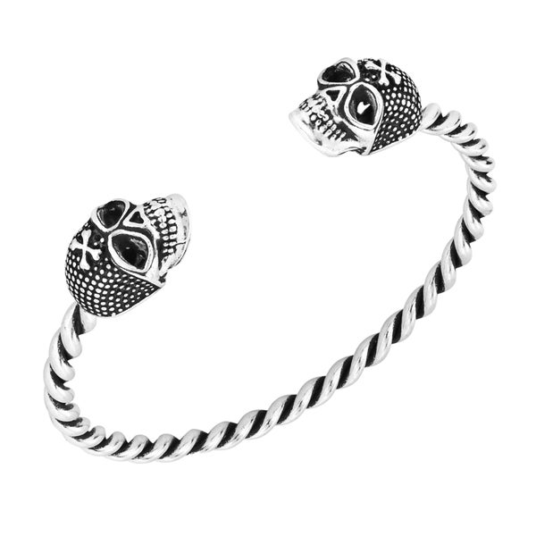 Punk Rock Double Skull Sterling Silver Twist Cuff Bracelet (Thailand)