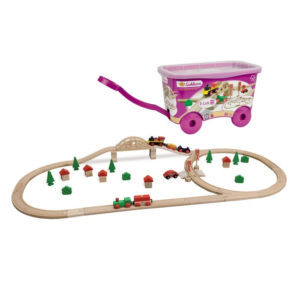 55 Pc Wooden Train Set with Bridge and Storable Wagon