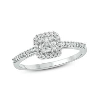 Cali Trove 10K White Gold 1/4ct TDW Diamond Square Baguette Frame and Round Cut Diamond Fashion Ring