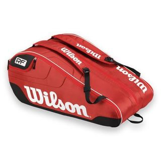 Wilson Federer Red Polyester 12-racket Team Tennis Bag