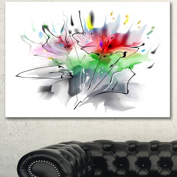 Designart 'Textured Red Green Floral Design' Extra Large Floral Wall Art