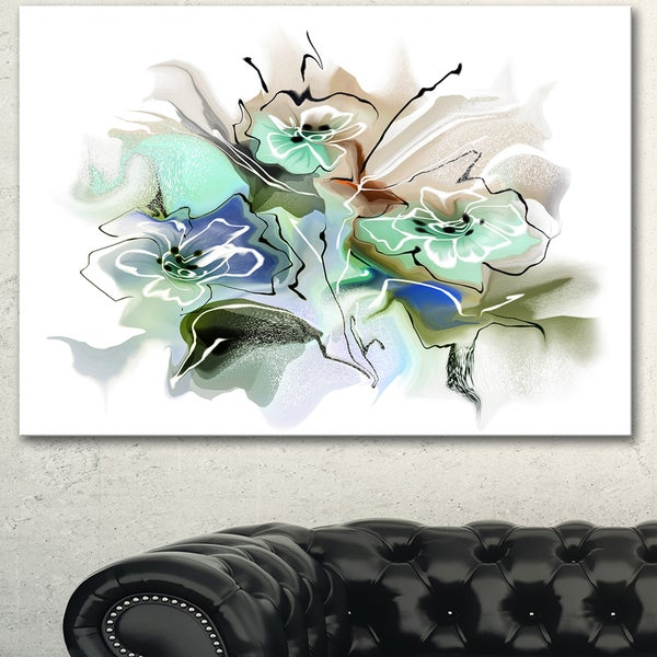 Designart 'Textured Floral Watercolor' Extra Large Floral Wall Art