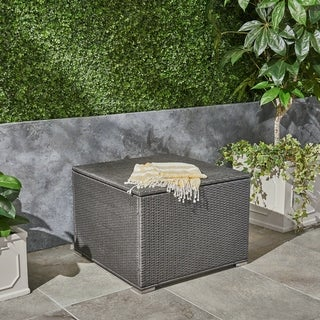 Santa Rosa Outdoor Wicker Storage Box by Christopher Knight Home