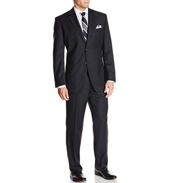 Bruno Piatelli Men's Two-Piece Black Pin Stripe Wool Classic-Fit Suit