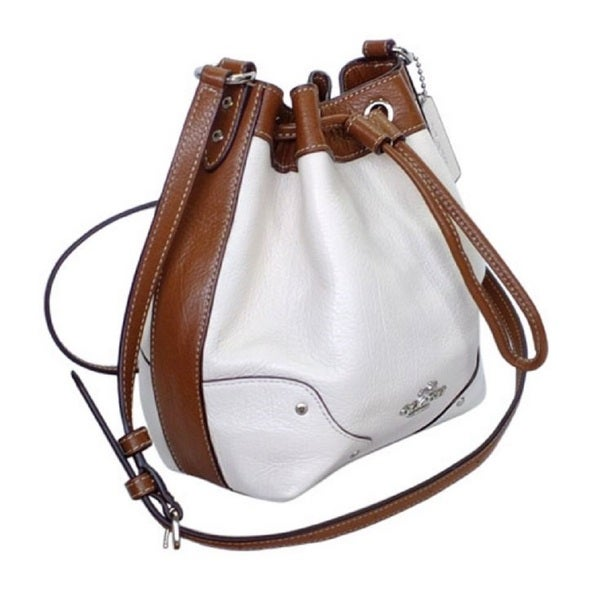 Coach Spectator White Leather Drawstring Bucket Shoulder Bag