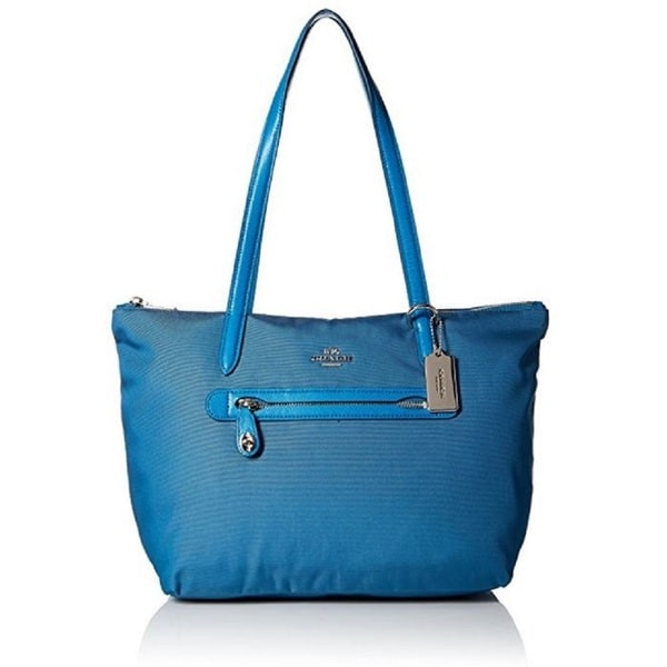 Coach Teal Nylon Zip Tote