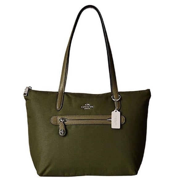 Coach 35500 Forest Green Nylon Zip Tote