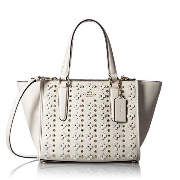 Coach 37703 Crosby White Leather Floral Mini Rivets Satchel