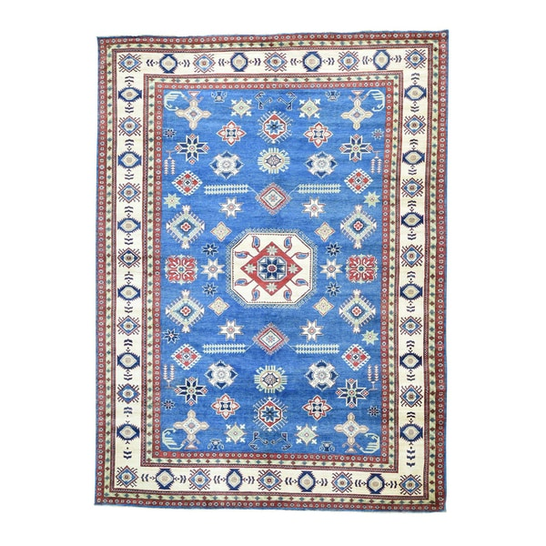 1800GetaRug Denim Blue Kazak-design Hand-knotted Wool Oversize Rug (10'9 x 14'6)