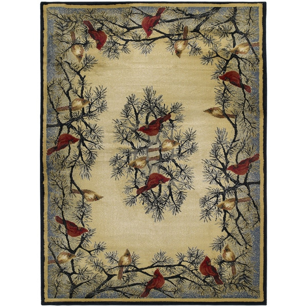 Westfield Home Ridgeland Pine Border Ivory/Red/Black/Grey/Green/Natural Polypropylene Area Rug (7'10 x 10'6) 21838610