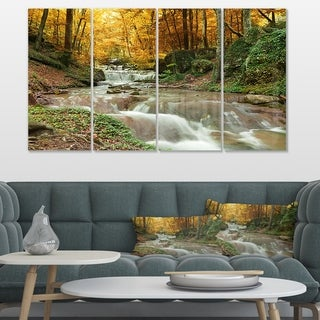 Designart 'Forest Waterfall with Yellow Trees' Landscape Artwork Canvas Print