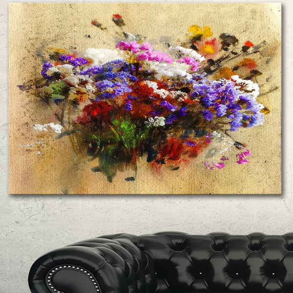 Designart 'Floral Still with Bunch of Flowers' Floral Canvas Artwork