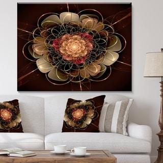 Designart 'Dark Gold Red Fractal Flower Pattern' Extra Large Floral Wall Art - Gold/Red