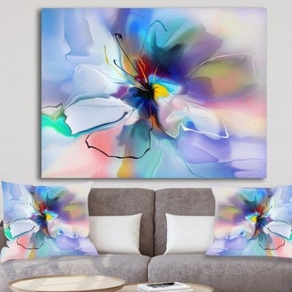 Designart 'Abstract Creative Blue Flower' Extra Large Floral Wall Art