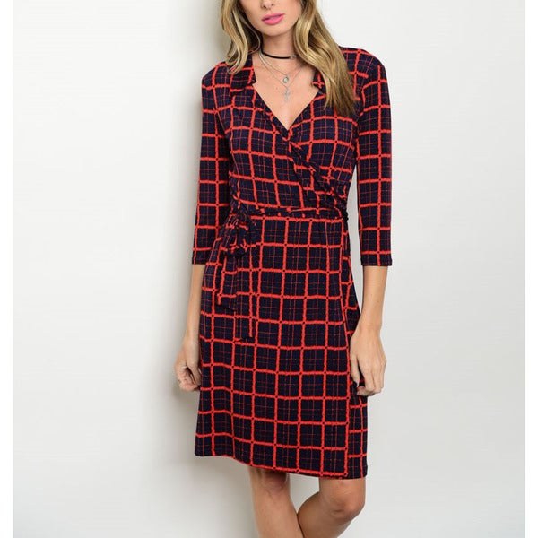 JED Women's Navy/Red Polyester 3/4-sleeve Printed Stretchy Jersey Wrap Dress