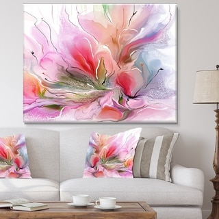 Designart 'Lovely Painted Floral Design' Extra Large Floral Wall Art - Purple