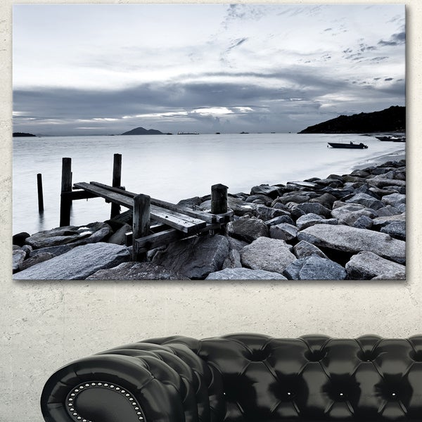 Designart 'Small Sea Bridge from Rocky Beach' Landscape Artwork Canvas Print