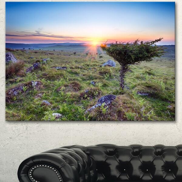 Designart 'Sunset on Bodmin Moor' Landscape Wall Art Print Canvas