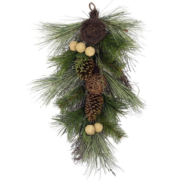 28-inch Christmas Pine Teardrop Swag with Twig Balls, Bird Nest, and Walnut