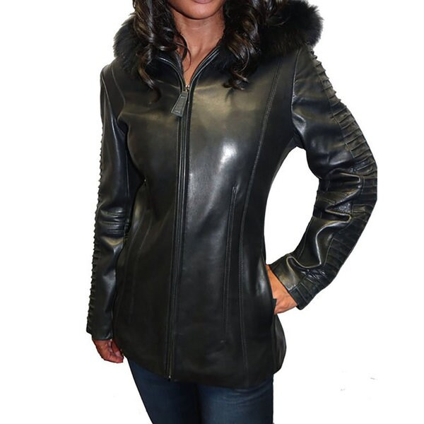Whet Blu Women's Black Leather Fox Trim Hooded Leather Jacket