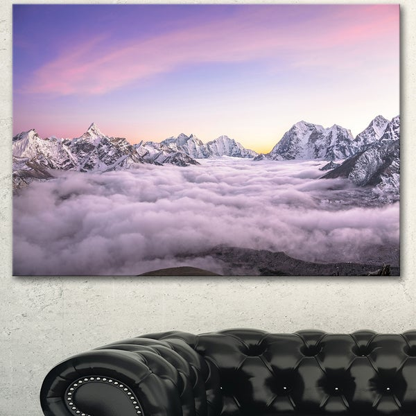 Designart 'Clouds Sunrise Ama Dablam' Landscape Wall Art Print Canvas