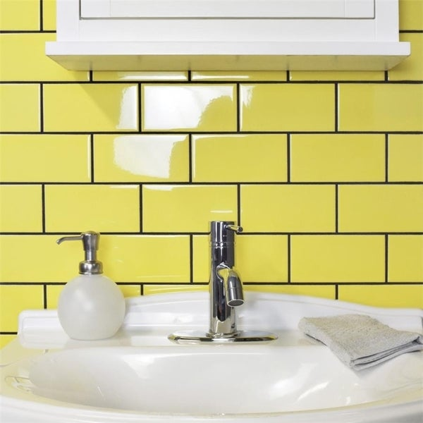SomerTile 3x6-inch Malda Subway Glossy Canary Yellow Ceramic Wall Tile (136 tiles/17 sqft.) 21842412