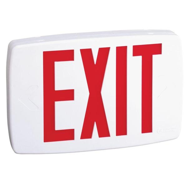 Lithonia Lighting White with Red Letters Thermoplastic LED Nickel Cadmium Battery Emergency Exit Sign