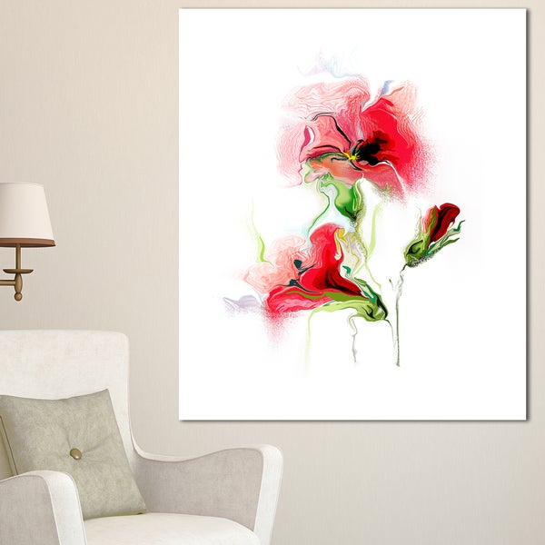 Designart 'Red Floral Watercolor Illustration' Large Animal Canvas Wall Art Print