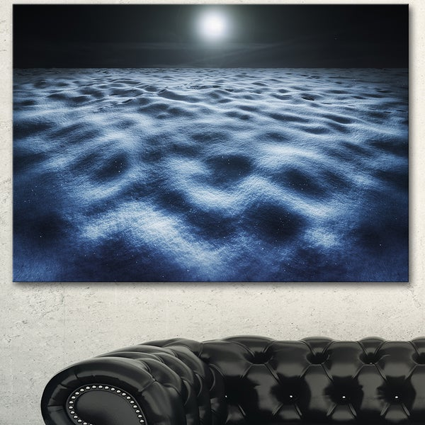 Designart 'Night With Fool Moon in Sky' Landscape Wall Art Print Canvas