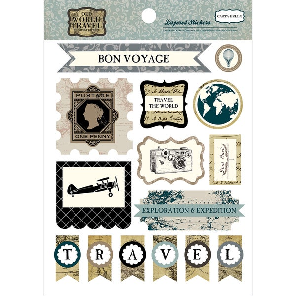 Old World Travel Layered Stickers
