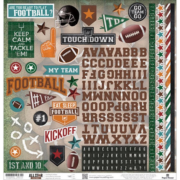 "Football Cardstock Stickers 12""X12"""