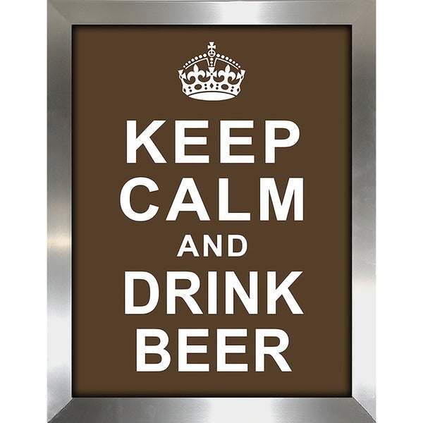 "FramedCanvasArt Studio ""Keep Calm and Drink Beer"" Framed Wall Art"