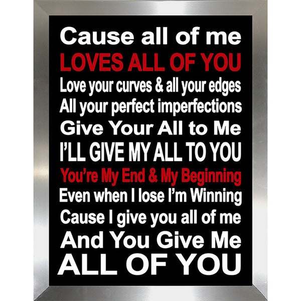 "FramedCanvasArt Studio ""All of Me"" Framed Wall Art"