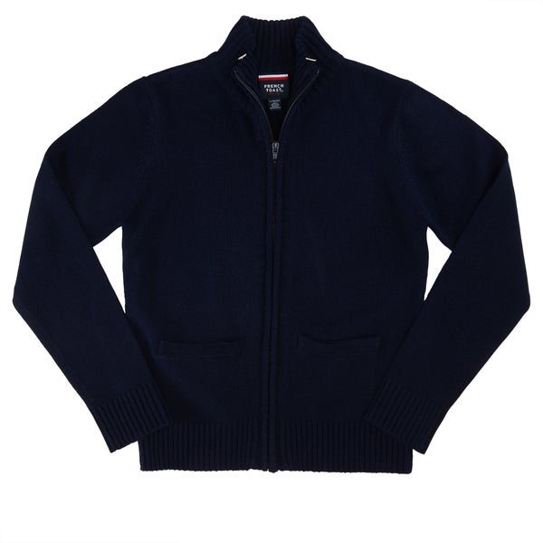 French Toast Boys' Dark Navy Acrylic Zippered Front Sweater