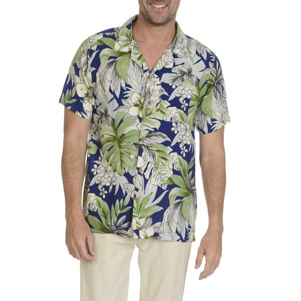 Caribbean Joe Men's Blue and Green Rayon Short-sleeved Floral-print Button-down Shirt