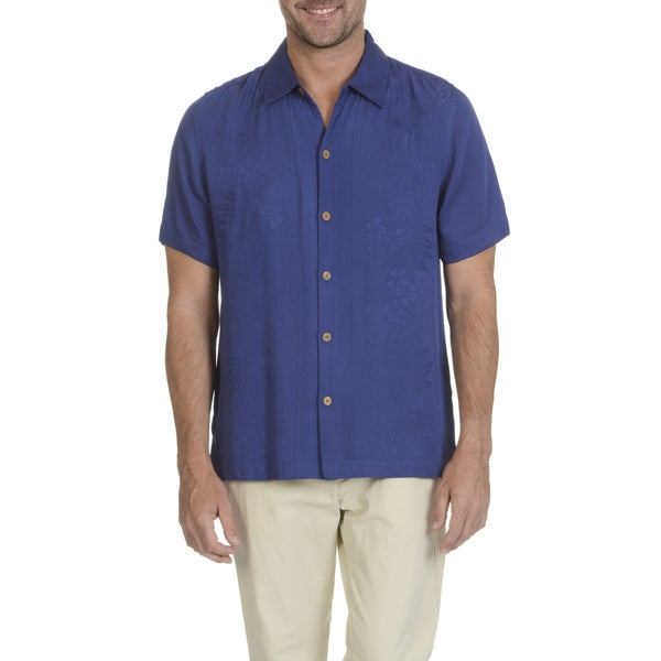 Caribbean Joe Men's Rayon Short-sleeve Tonal Floral Pattern Button-down Shirt