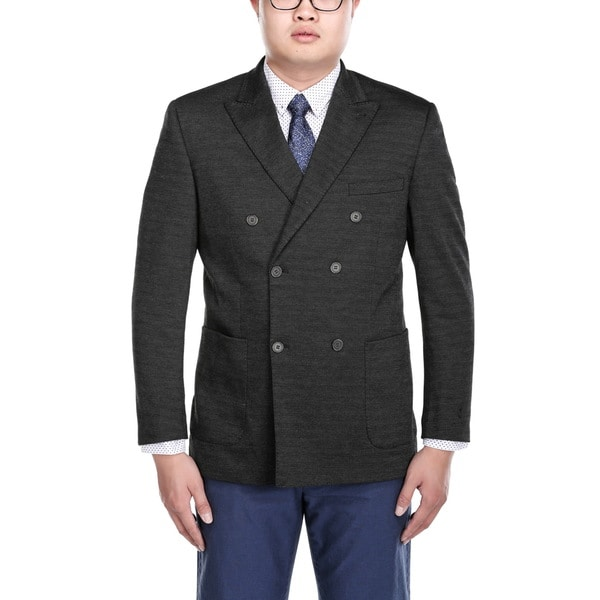 Beverly Hills Polo Club Men's Black Double-breasted Nailshead Peak Lapel Blazer