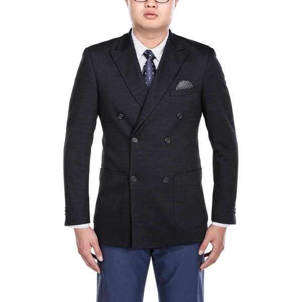 Beverly Hills Polo Club Men's Navy Blue Double Breasted Nailshead Peak Lapel Blazer